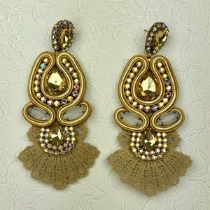 Gold White Glam Chandelier Statement Earrings
